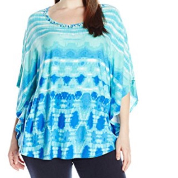 0e3adc35c17 PLUS 2X Ruby Rd. Tie Dye Embellished Dolman Top