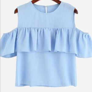 💋BLUE SLEEVELESS COLD SHOULDER RUFFLE TOP💋