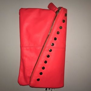 Call It Spring Handbags - Neon Pink Studded Clutch