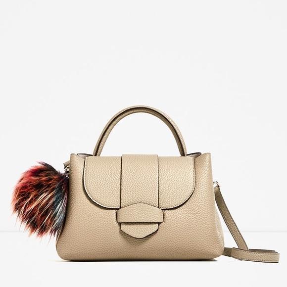 c12da6fa9067 Taupe mini city bag with pompom-- Zara