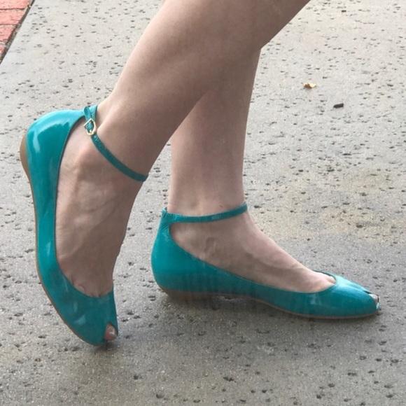 Leather Peep Toe Flats Ankle Strap Blue