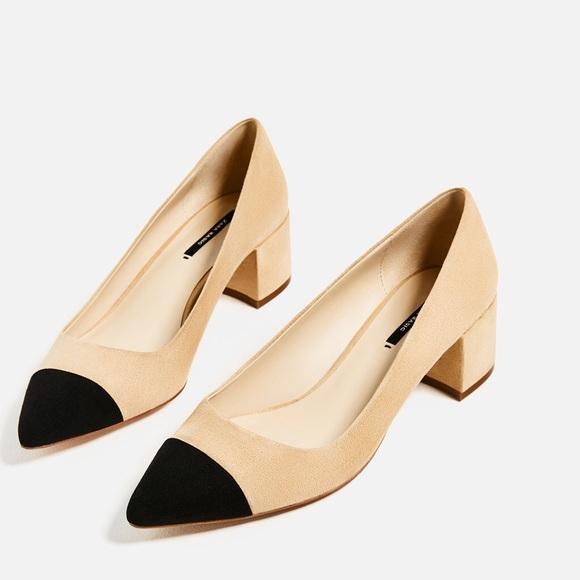 Zara mid heel with contrast toes