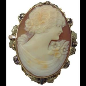 """Jewelry - 12k gold filled 1 3/4"""" cameo brooch pendant"""