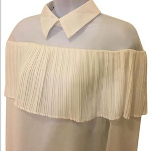 Tops - New Mesh Top Sheer Pleated Blouse