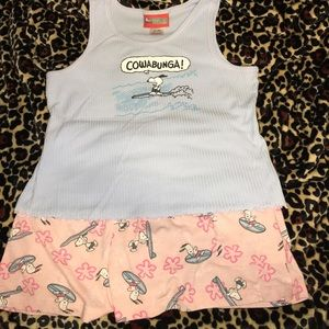 Peanuts Other - 🏄Snoopy goes surfing pj tank & shorts set