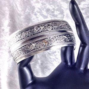 Tibetan Ornate Filigree Cuff Bangle Bracelet