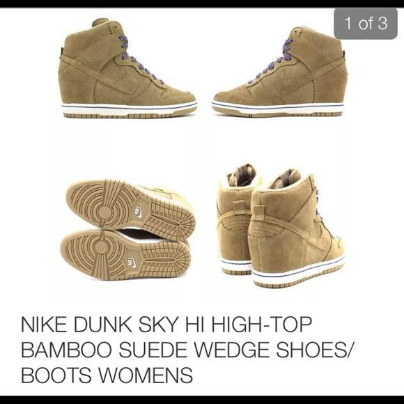 new concept 85190 5a65d Nike Dunk Sky Hi Suede Bamboo Wedge Sneaker. M 587bf39b2fd0b7847e09f295