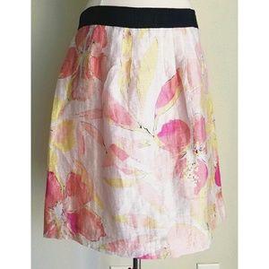 AnnTaylor Loft PinkWhiteFloral Linen Shimmer Skirt