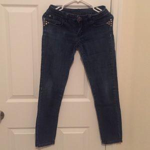 Denim - Dark washes studded skinny jeans