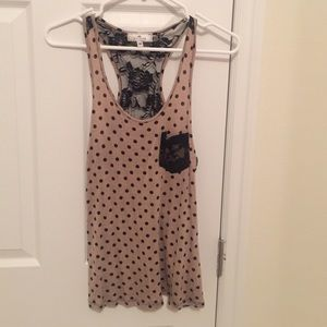 Tops - Polk-a-dot and black lace beige tank top