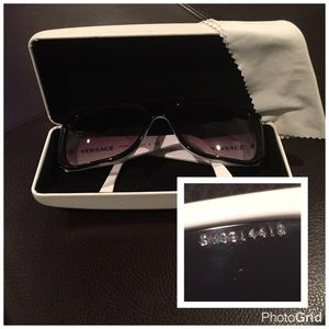 AUTH Versace Sunglasses Black & White w/ Crystals