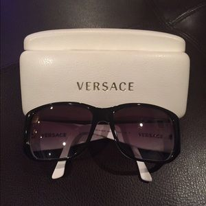 9308b50dcca Versace Accessories - AUTH Versace Sunglasses Black   White w  Crystals