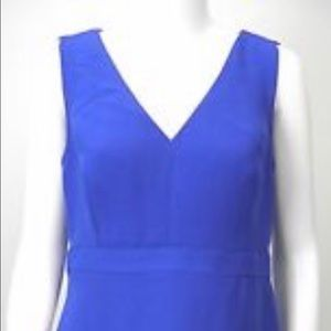 JCrew Cobalt Blue V-Neck Band Waist A-Line Dress