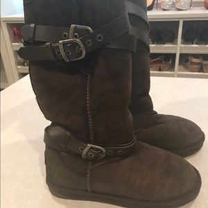 Emu Shoes - Emu Brown Tall Leather Strap Boots