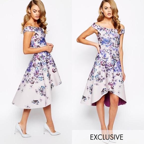22f02473de10 ASOS Dresses   Skirts - True Violet Printed Off Shoulder Dress
