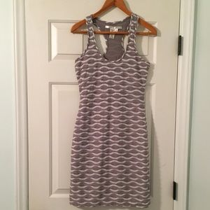 Max Studio Grey and White Striped Bodycon Dress