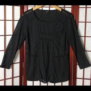 Lucky Brand Black Lace Pull on Blouse.