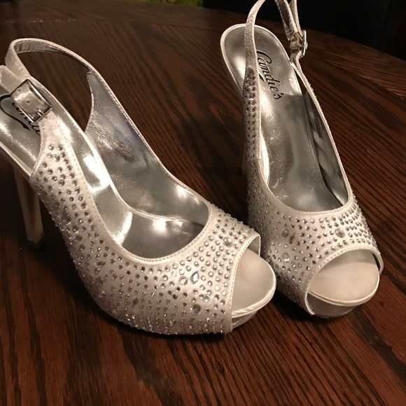 b829fb51fc6d Candies Shoes – Silver pewter sparkle heel!