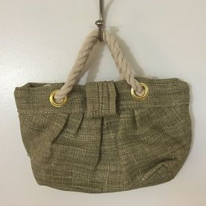 Small Burlap Tote Bag With Rope Handles