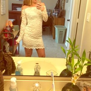 Lace long sleeve white dress