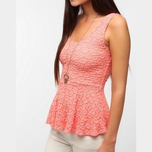 Pins & Needles Tops - Pins & Needles (Urban Outfitters) Rose Peplum Top