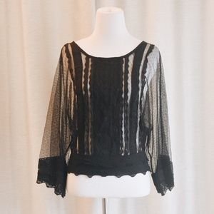 Miss Finch Tops - Black Lace Keyhole Blouse