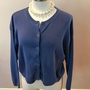 J CREW Blue 100% Cotton 6-button cardigan- Size L