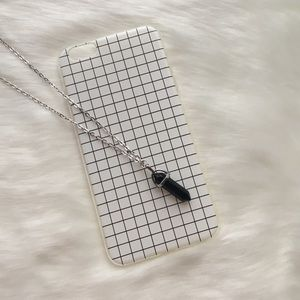 White grid iPhone 6+ 6s+ case & crystal necklace