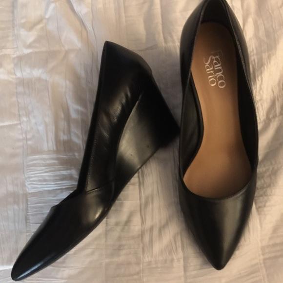 Black Wedge Pointed Toe Heels   Poshmark
