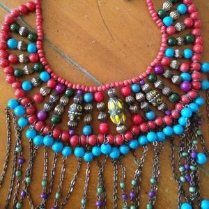 Jewelry - Tribal turquoise and red statement necklace