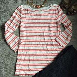 LOFT Tops - LOFT Double Stripe White and Pink 3/4 sleeve shirt