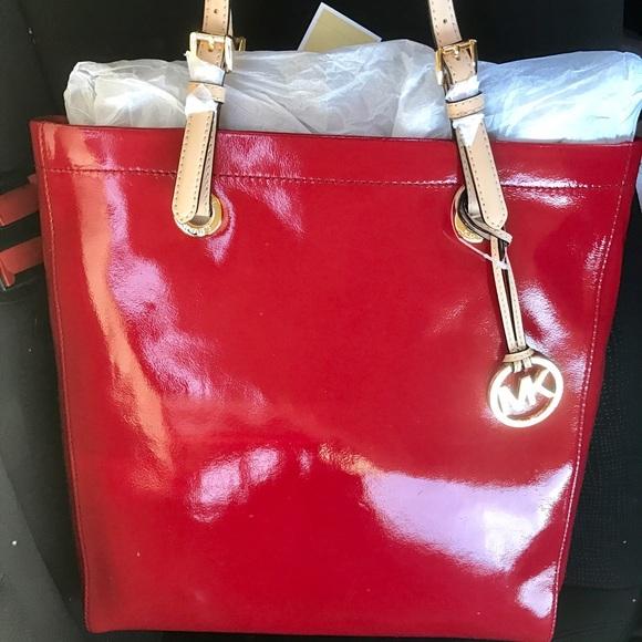 Nwt Red Michael Kors Patent Tote Bag