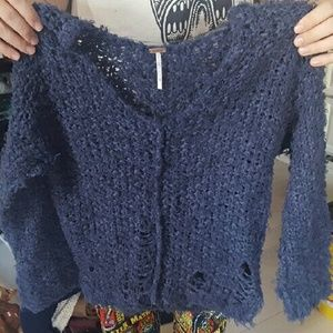 blue free people up the ladder sweater