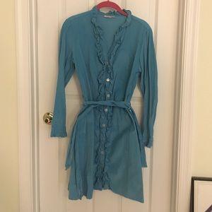 Kayce Hughes Dresses & Skirts - Kayce Hughes Blue Corduroy Shirt Dress 6