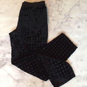 Zara Pants - Zara Sheer Leg Velvet Grid Evening Pant