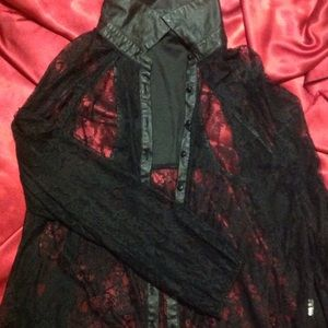 Do & Be Tops - Leather and Lace black top. SIZE: Medium