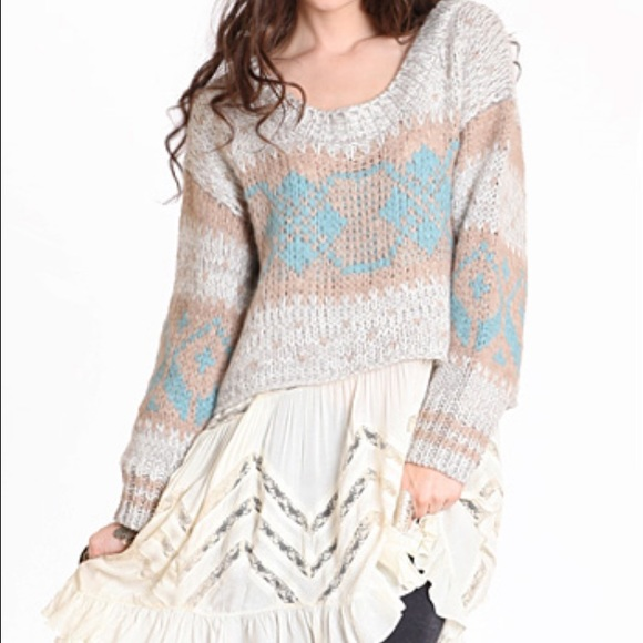 74% off Free People Sweaters - Free People cropped fair isle ...