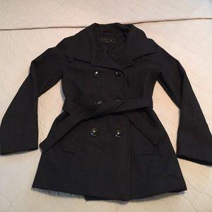 Gallery Jackets & Blazers - Cute wool charcoal gray peacoat!