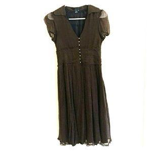 Zara Brown Swiss Dot Midi Dress
