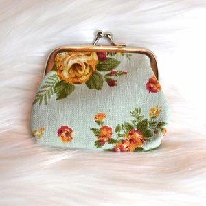 Handbags - Mint Floral Coin Purse