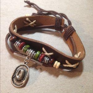 Jewelry - Leather western cowboy hat bracelet