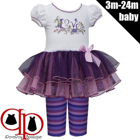 3b8d3e02a Bonnie Jean Dresses   Baby Girl 3m24m Love Print Dresslegging Set ...