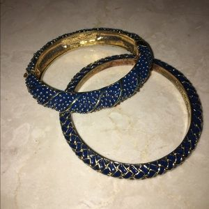 Lilly Pulitzer blue and gold bracelets