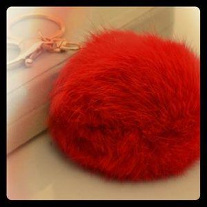 1pc  fur ball keychain.