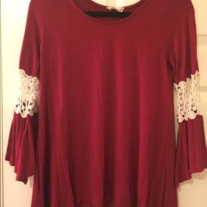 Altar'd state bell sleeve top with crochet detail