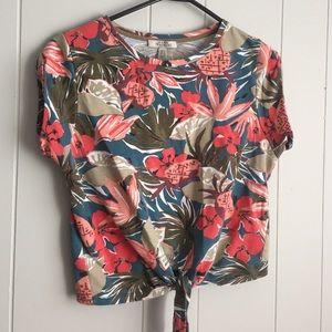 Zara Tops - Zara Floral tie Crop Top
