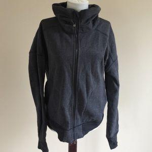 lululemon athletica Tops - Lululemon funnel neck hoodie heather grey sz 12