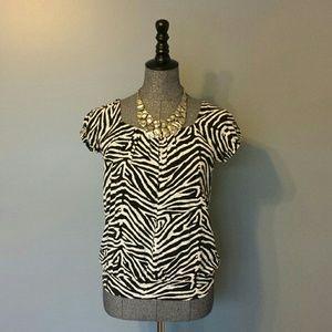 ❤ Michael Kors | Zebra Print Short Sleeve Top