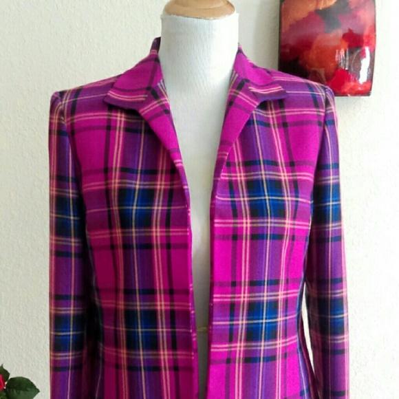 Kasper Jackets & Blazers - ⬇Fuschia & Purple Plaid Open Blazer