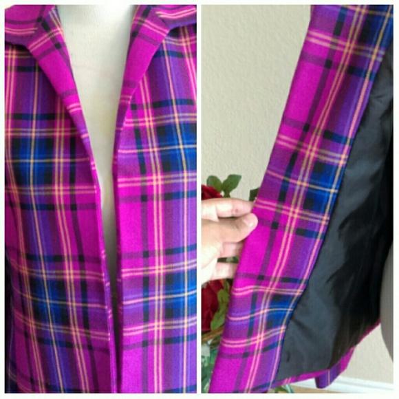 Kasper Jackets & Coats - ⬇Fuschia & Purple Plaid Open Blazer